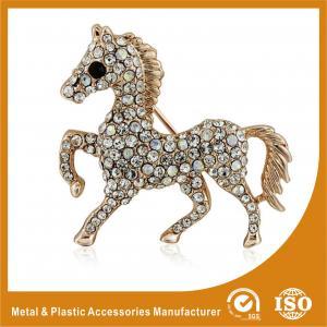 China Crystal Rhinestone Handmade Horse Brooches Jewellery Gold Plated wholesale