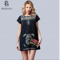 China Mini Length Womens Embroidered Floral Dress Short Sleeve Casual Dress wholesale
