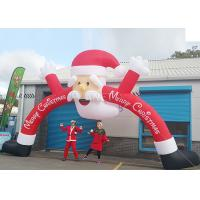 China Santa Claus Christmas Inflatable Archway 210 D Oxford Cloth For Outdoor Event wholesale