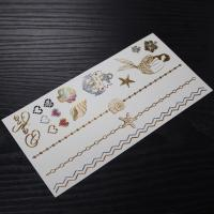 China custom metallic gold jewel temporary tattoos wholesale