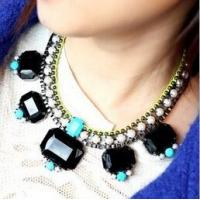 China TPN-7 European glam rock feeling neon diamond rhinestone necklace pearls collar necklace wholesale