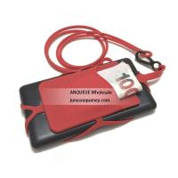 China Factory new mold Silicone phone wallet with lanyard, silicone lanyard cell phone holder wholesale