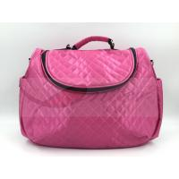 China Pink Satin Quilted Tote Diaper Bags With Strap Easy Carry Big Capacity on sale