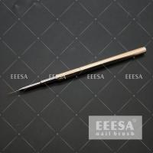 China Metalic Handle Nail Art Brushes 9mm Nylon Hair Length 0.3mm Ferrule Round Shape wholesale