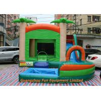 China Red Commercial PVC Tarpaulin Inflatable Water Slide With Pool Size 7 * 5m wholesale