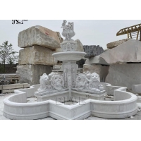 China Angel And Lions Marble Water Fountains White Stone Carving Fountain Large Garden Decoration wholesale