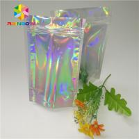 China Custom Printing Plastic Cosmetic Bags Three Side Seal Hologram Laser Wateproof Pouch wholesale