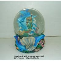 China Blue Polyresin Water Souvenir Snow Globes With Dolphin Bases 11 X 11 X 14 Cm wholesale