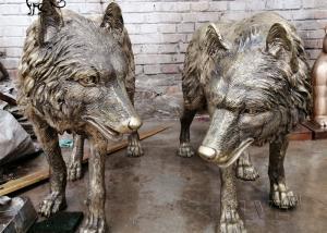 China Wolf Bronze Statues Life Size Animal Sculpture Garden Decoration wholesale