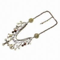 China Fashionable Necklace/Metal Cross Necklace with Diamond, Environment-protection Material on sale
