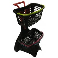 China 580x480x980 Plastic Shopping Basket Trolley With 3 Inch TAPE Wheel wholesale