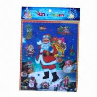 China Christmas decoration 3D stickers/lenticular stickers, available in various sizes/colors, non-toxic wholesale