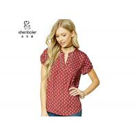 China Paisley Print Womens Chiffon Tops Red Short Sleeves Slit Neck Chiffon Top wholesale