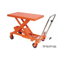 China 750Kg 16501b Hand Lift Table , Hydraulic Scissor Lift Cart Easy Hand Operation wholesale