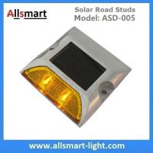 China Solar Road Stud ASD-005 Single Line 2leds Square Shape Solar Traffic Warning Lights Solar Road Reflecting Markers wholesale