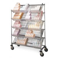 China 5 Layers Slant Tilt Show Room Commerical Angled Wire Shelving With Castors on sale