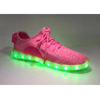 China Breathable Pink Light Up Kids Shoes , Childrens Trainers With Flashing Lights wholesale