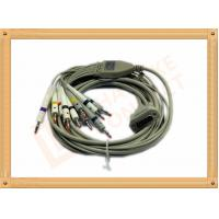 China 4.0 One Piece ECG Monitor Cable , Ecg Lead Cable 10 Lead Wires TPU Gray With Defibrillation wholesale