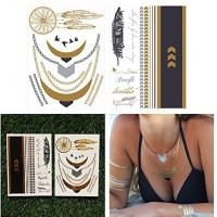 China Waterproof Temporary Gold Foil Tattoo Stickers , Water Transfer Flash Tattoos on sale