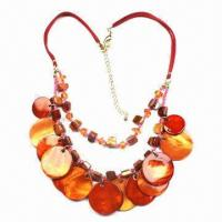 China Polished Shell Necklaces, Pendant Necklaces, Ladies/Women Jewelry, Various Colors are Available wholesale