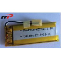China 540mAh 602048 Lithium Polymer Batteries High temperature UL CE IEC wholesale