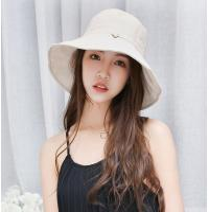 China Cotton Bucket hat female hat Korean version of outdoor leisure flat top sun hat large along the sun cloth cap wholesale