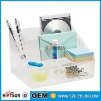 China office clear acrylic desk organizer 2 tier 3 tier acrylic pen tray multi compartment wholesale