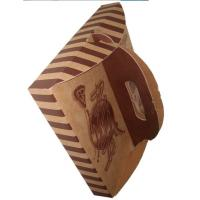 Quality Stripe Folding Brown Paper Box Packaging With Handle For Pizza for sale
