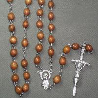 China Wood Catholic Rosary Necklace with Alloy Cross on sale