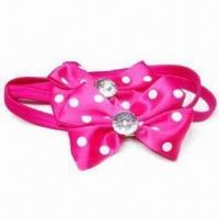 China Cute Children's Elastic Bands with Satin Bow Decoration, Available in Different Designs and Colors wholesale
