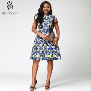 China Short sleeve African Print  Dress morden blue midi length V-neck 100% cotton wholesale