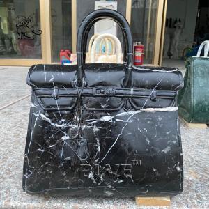 China Brand Bag Marble Sculpture Handbag Statues Stone Nero Margiua Hand Carved Luxury Goods Morden Art Decoration wholesale