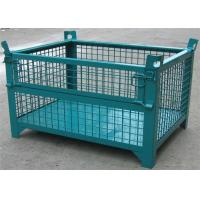 "China Wheeled Lockable <strong style=""color:#b82220"">Pallet</strong> Cages Square Stack Legs Folds Flat For Space Saving wholesale"