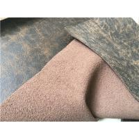 China 140 cm Width Dark Brown Stretch Leather Fabric With 35 Meters Length Each Roll wholesale