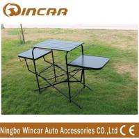 Quality PVC polyester Outdoor Camping Tables , Black / Sliver Portable Grill Barbecue Table for sale