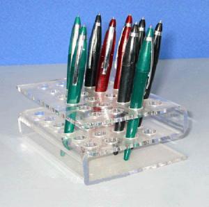 China Plexiglass Stationery Rack ,s-Shape Acrylic Pen Holder For 20pcs Pens wholesale