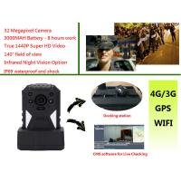China Live Monitoring 3g Wifi Gps Police Body Cameras , Body Worn Camera 1440p Resolution wholesale