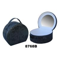 China Round Ladies Makeup Box With Mirror , Paper Custom Train Case Makeup Bag on sale