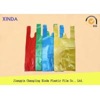 Quality Recycled material striped transparent plastic bags T-shirt color printed hanging hole for sale