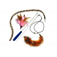 China Multi Colors Cat Feather Teaser Wand , PVC Material Cat Stick Toy For Kitten wholesale