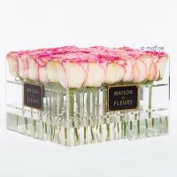 China Crystal Clear Acrylic Box with Lavender/red/pink Roses ,glowing flowers rose thick acrylic box with lid wholesale