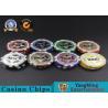 ABS Casino Poker Chips , Gambling Plastic Sticker Poker Chips Coins Yangming for sale