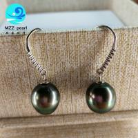 China good price 9-10mm baroqueseawater  tahitian pearl earring in sterling silver hook for women wholesale