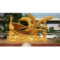 Brass Golden Phoenix Sculpture, Bird Bronze Statues