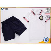 China Custom school uniform polo t shirts with stripe collar and cuff  for boys and girls wholesale
