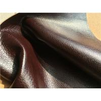 China Flocking Double Brown Stretch Leather Fabric 1.0mm - 1.2mm Thickness wholesale