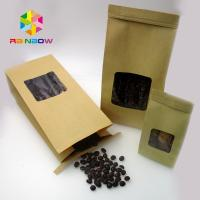 China Custom Printed Foil Lined Kraft Paper Stand Up Pouch Bag With Clear Window For Coffee Bean wholesale