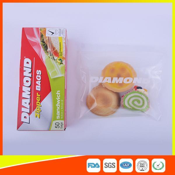 Quality Airtight Plastic Zipper Sandwich Bags , Zip Lock Reusable Food Storage Bags for sale