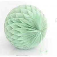 Buy cheap Dusty green Tissue Paper Honeycomb Balls Pom Poms With Satin Ribbon Loop For from wholesalers