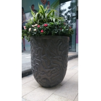 China Bronzed Resin Flower Pots Surface Brushed Stainless Steel Flower Pot wholesale